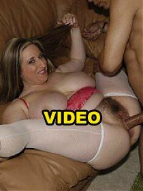 Big tit slut shows her hairy bush and sucks cock!