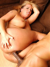 Curvy webcam model Joclyn Stone kneading her big tits while she gets her hairy poon dicked